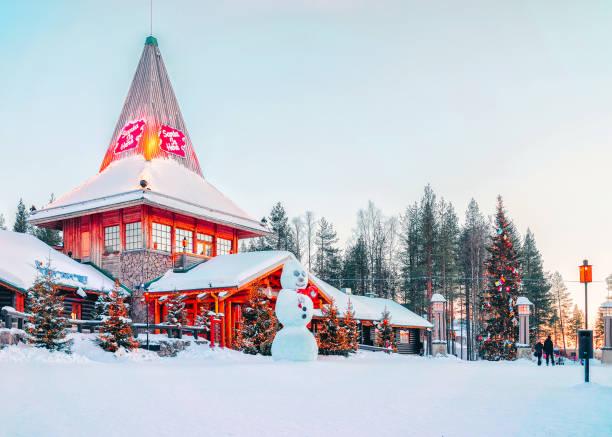 Snowman at Santa Office Santa Claus Village stock photo