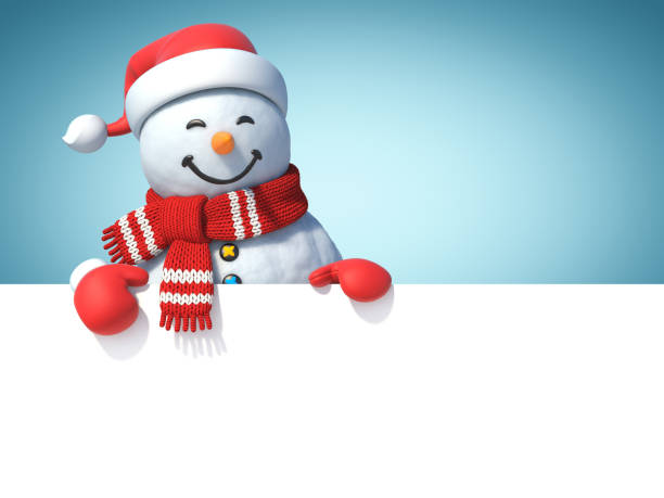 Snowman behind blank white poster Snowman behind blank white poster, copy space greeting card template, 3d rendering snowman stock pictures, royalty-free photos & images