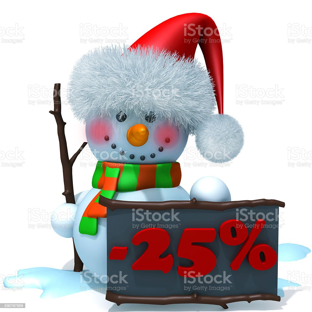 Snowman christmas sale 25 percent discount 3d illustration stock photo