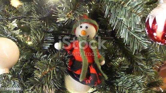 Cute snowman doll on the Christmas tree