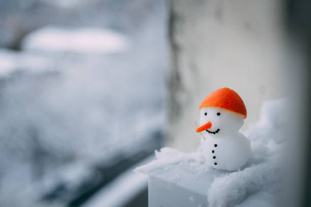 Snowman enjoying beautiful view stock photo