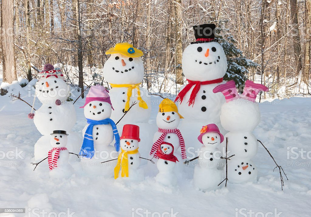 Snowman family stock photo