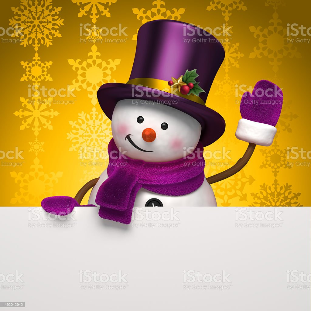 snowman gold banner stock photo