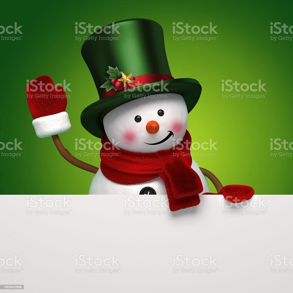 snowman green banner stock photo