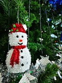 Close-up Snowman hanging on hristmas tree decoration background