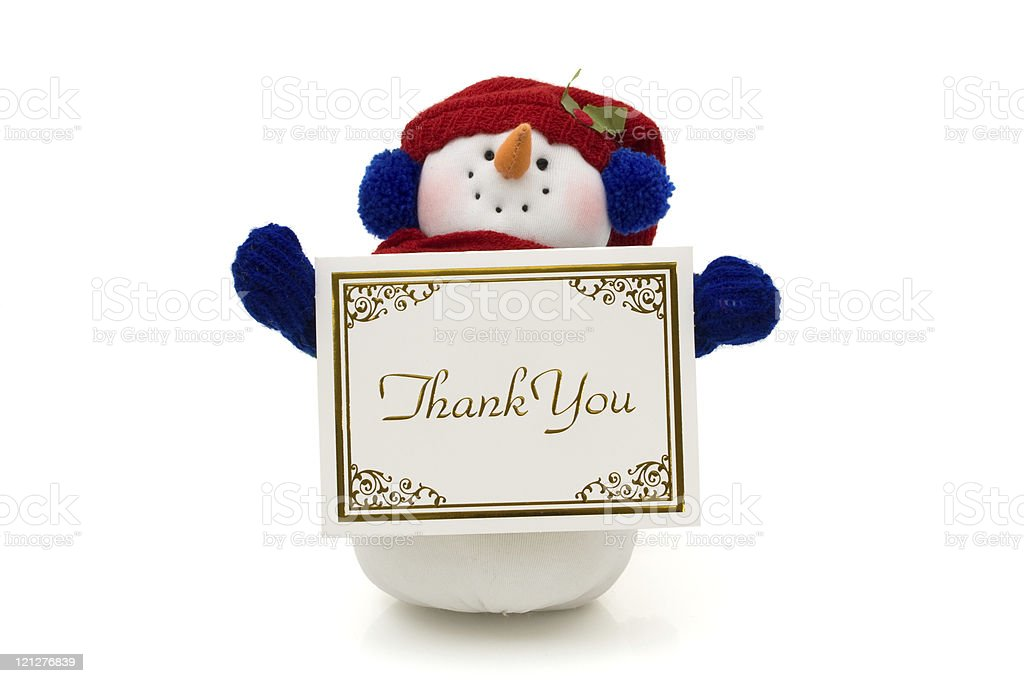 Snowman holding a thank you card royalty-free stock photo