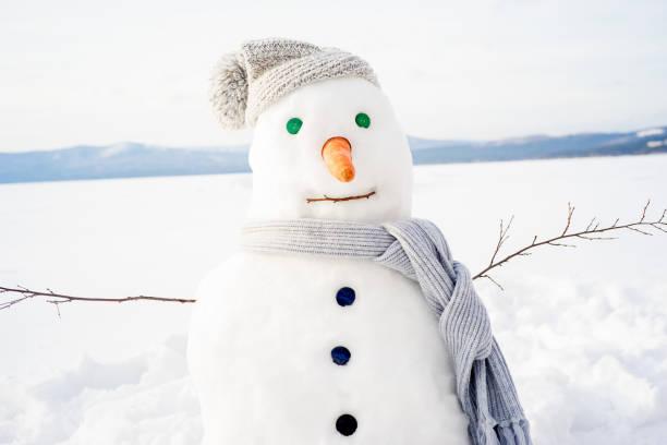 snowman in a scarf and hat - schneemann bauen stock-fotos und bilder