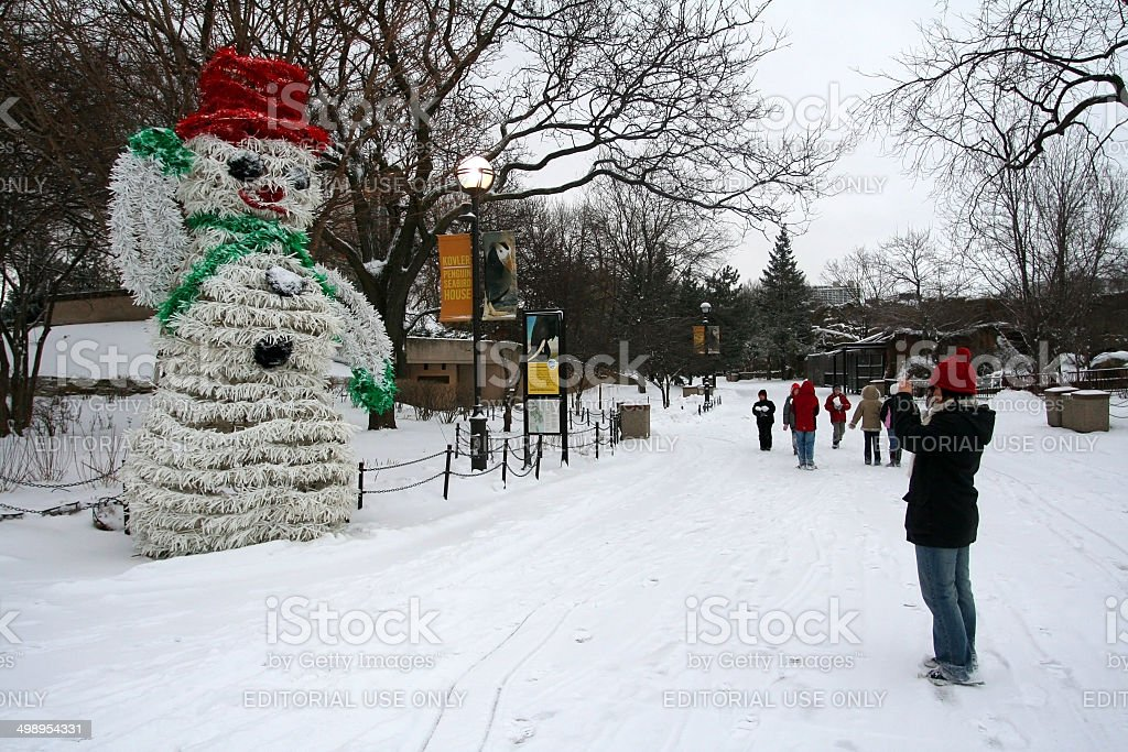 Snowman in Lincoln Park at winter stock photo