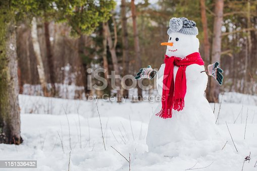 1056829102 istock photo snowman in red scarf in forest 1151336432