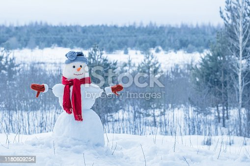 1056829102 istock photo snowman in red scarf in forest 1180609254