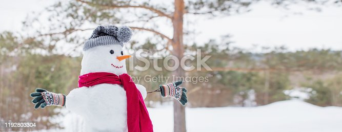 1056829102 istock photo snowman in red scarf in forest 1192803304