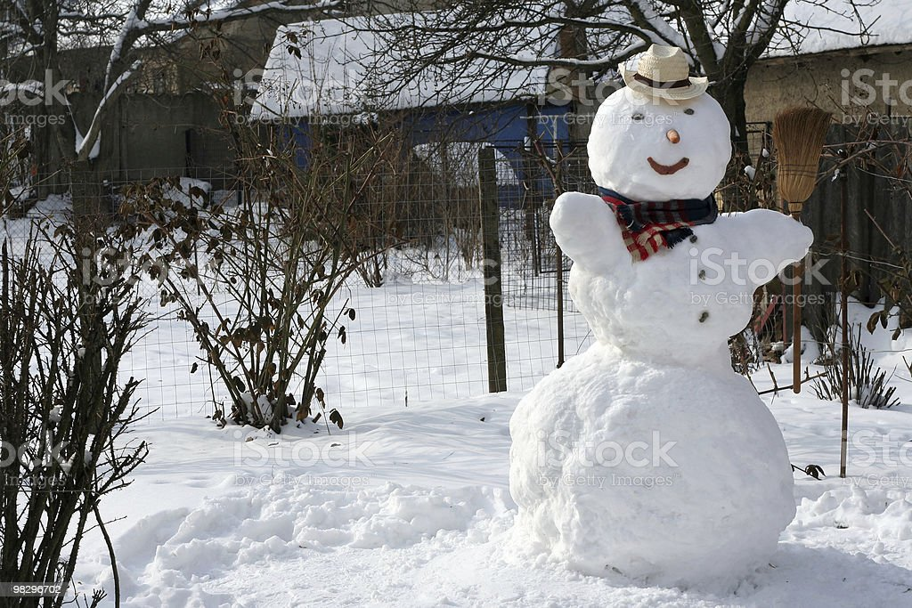 Snowman In The Garden royalty-free stock photo