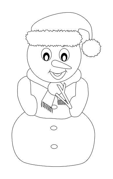 snowman isolated colored page - weihnachtsbilder zum ausmalen stock-fotos und bilder