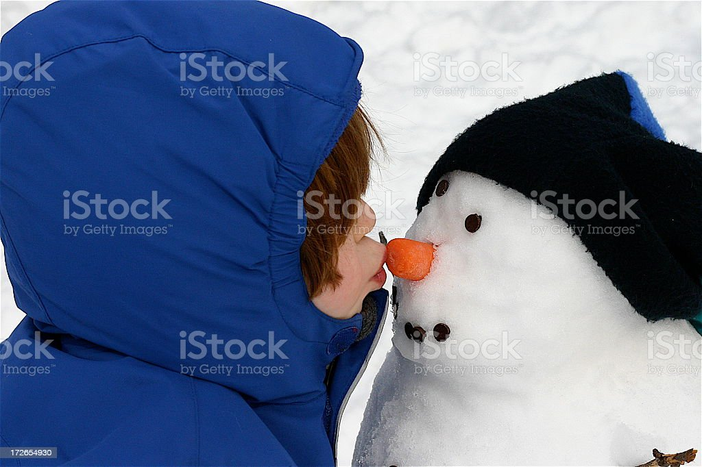 Snowman Kisses royalty-free stock photo