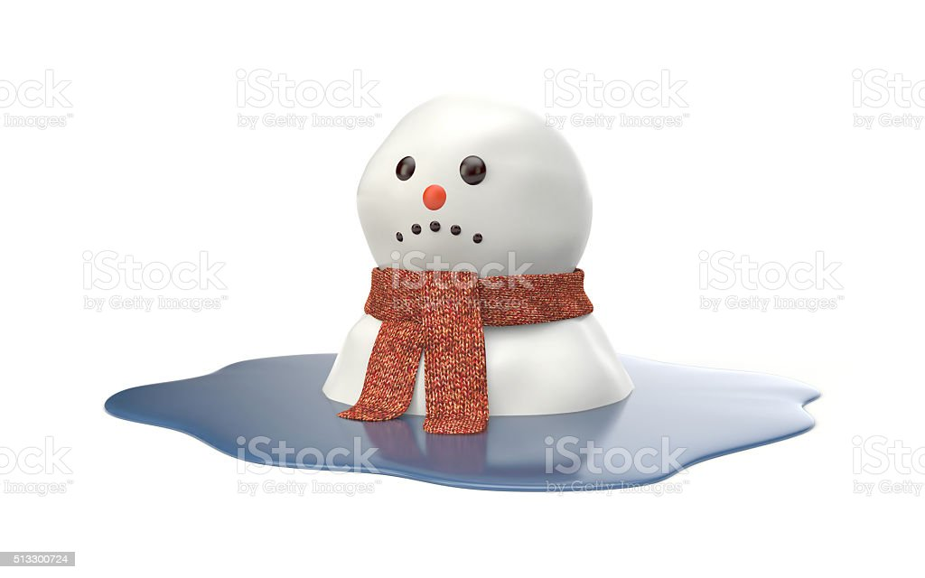 Snowman melting stock photo