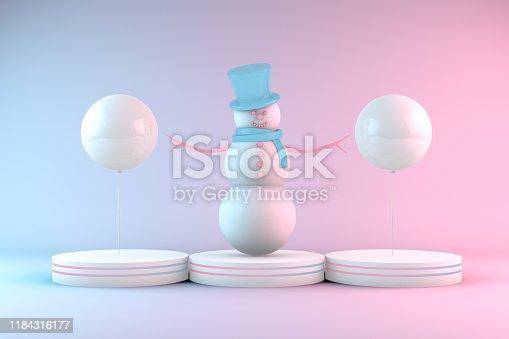 1073585628 istock photo 3D Snowman, Minimal Christmas Concept, Neon Lights 1184316177