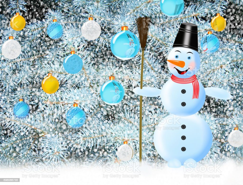 snowman New Year tree with decorations stock photo