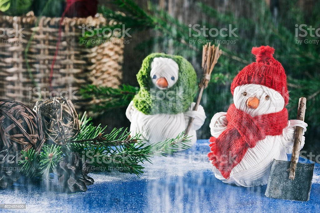 Snowman of yarn over christmas decor stock photo