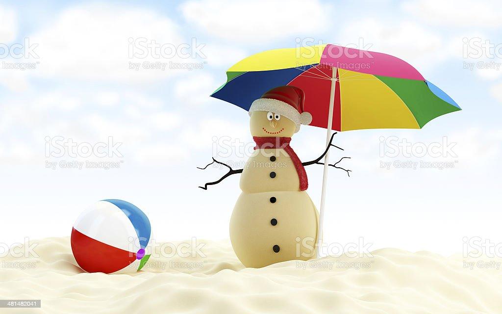 snowman on a beach beach ball stock photo