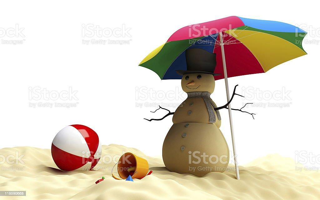 snowman on a beach stock photo
