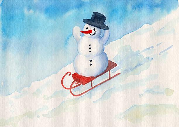 schneemann auf schlitten mit hut - schnelles weihnachtsessen stock-fotos und bilder