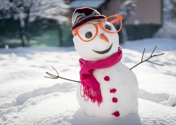Snowman on snow background Snowman on snow background snowman stock pictures, royalty-free photos & images