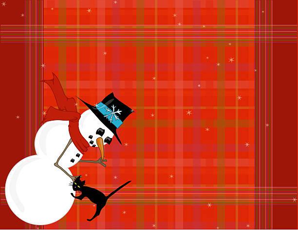 Snowman Pets His Cat v2 stock photo