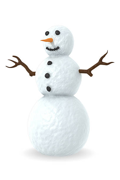 """Snowman """"Snowman with carrot nose, coal eyes and mouth.This image could be useful in a Christmas composition.This is a detailed 3d rendering"""" snowman stock pictures, royalty-free photos & images"""