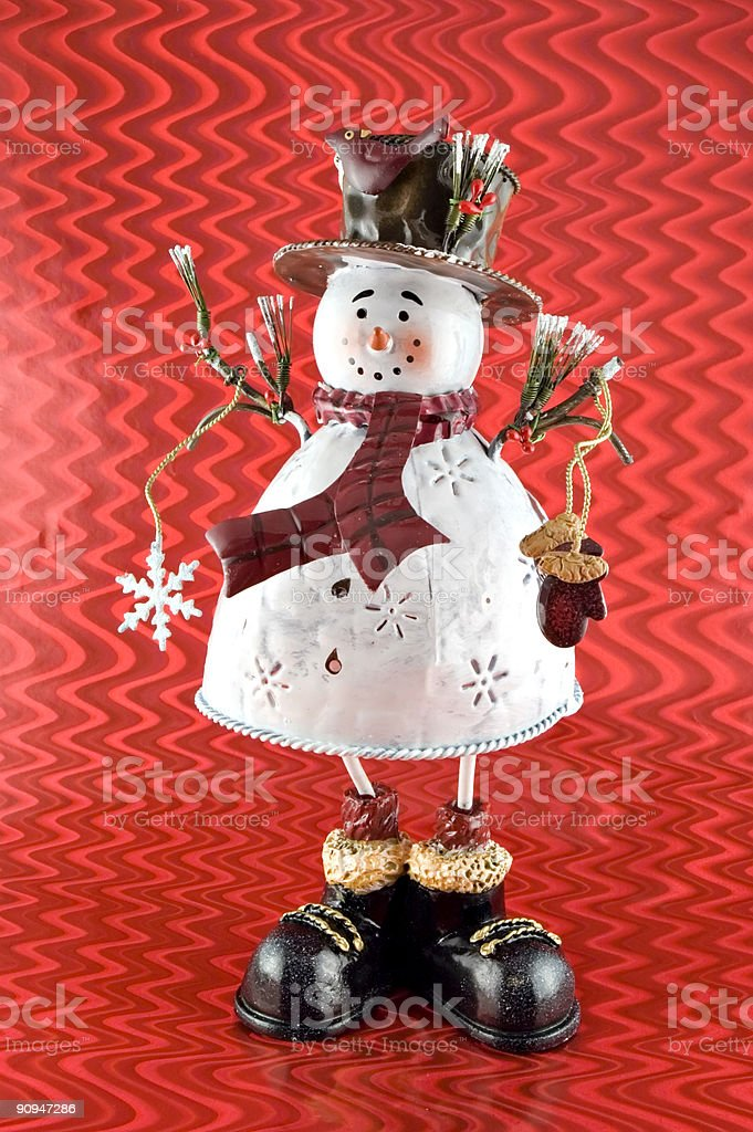 Snowman Sculpture with Red Background royalty-free stock photo