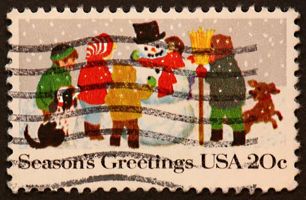 Snowman Stamp Stock Photo