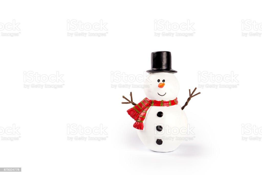 Brinquedo boneco de neve no fundo branco - foto de acervo