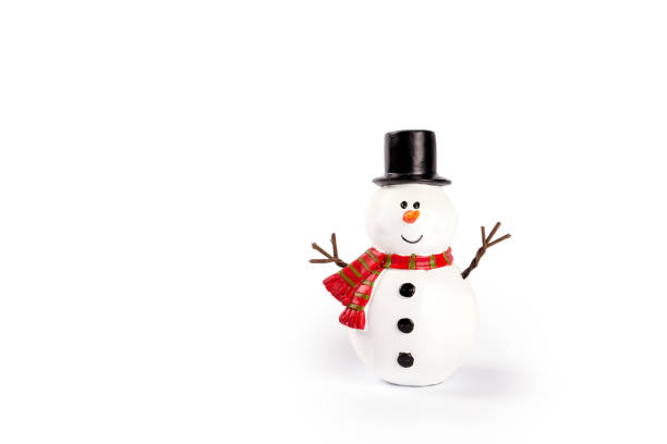 Snowman toy on white background stock photo