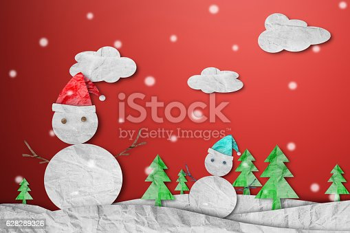 527392693 istock photo Snowman wearing red Santa hat in winter with snow 628289326