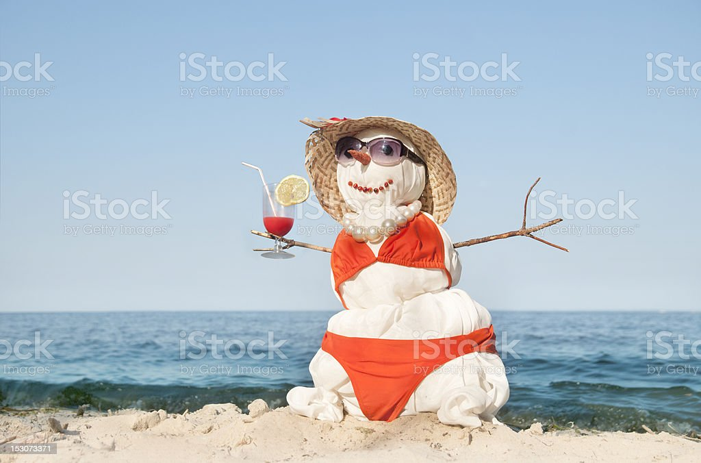 snowman with cocktail stock photo