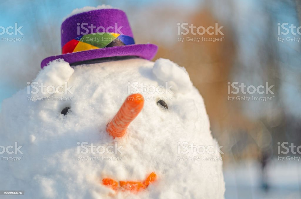 Snowman with purple hat. Facial portrait stock photo