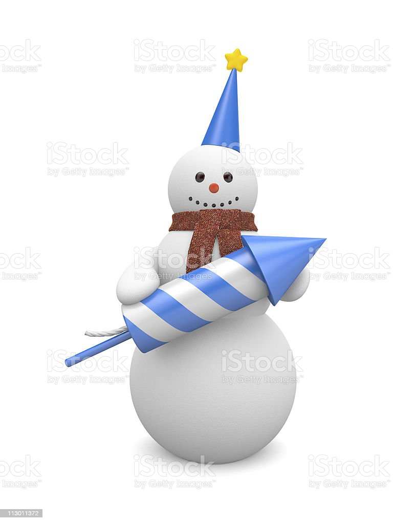 Snowman with rocket. Image contain clipping path royalty-free stock photo