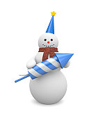 Snowman with rocket. Image contain clipping path