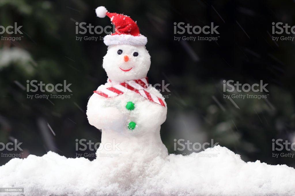 Snowman with Santa Hat royalty-free stock photo