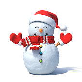 istock Snowman with Santa's hat 3d rendering 907848312