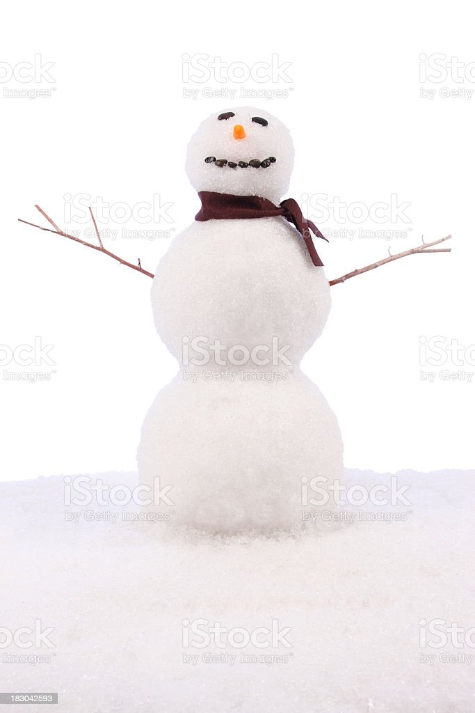 Snowman with Stick Arms, Carrot Nose Isolated on White Background royalty-free stock photo