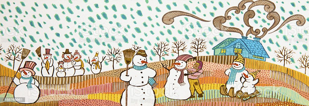 Snowmans in the snow. royalty-free stock photo