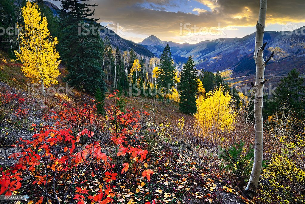 Snowmass Sunset stock photo