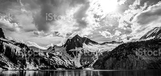 Photo of SnowMass Wide Mountains Snow Pack Cliffs Lake Colorado Rugged Summits