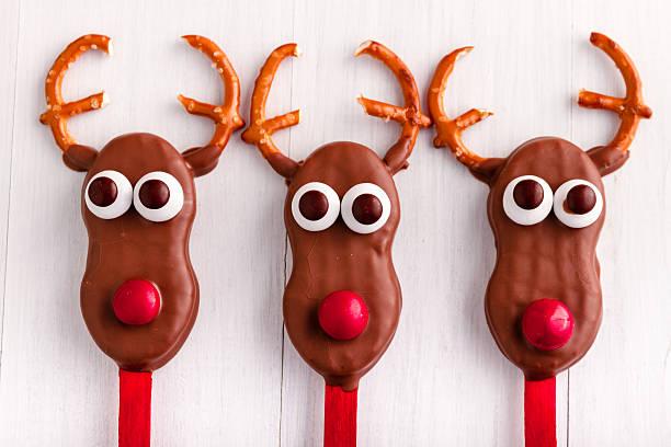 Snowmen and Reindeer Cake Pops stock photo
