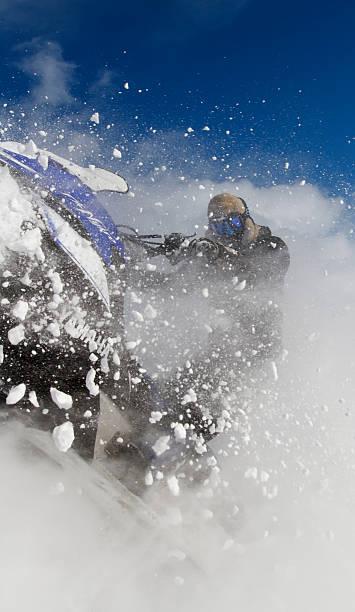Snowmobile Action. stock photo
