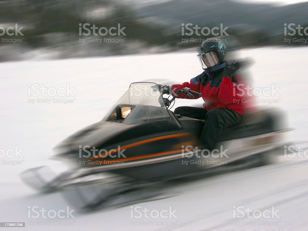 Snowmobile Driveby royalty-free stock photo