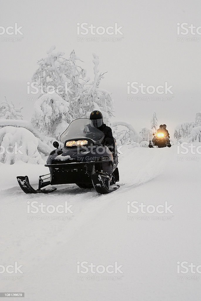 Snowmobile Expedition Finland Lapland royalty-free stock photo