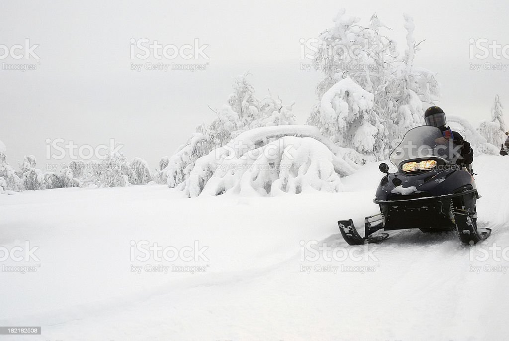 Snowmobile Expedition Finland royalty-free stock photo