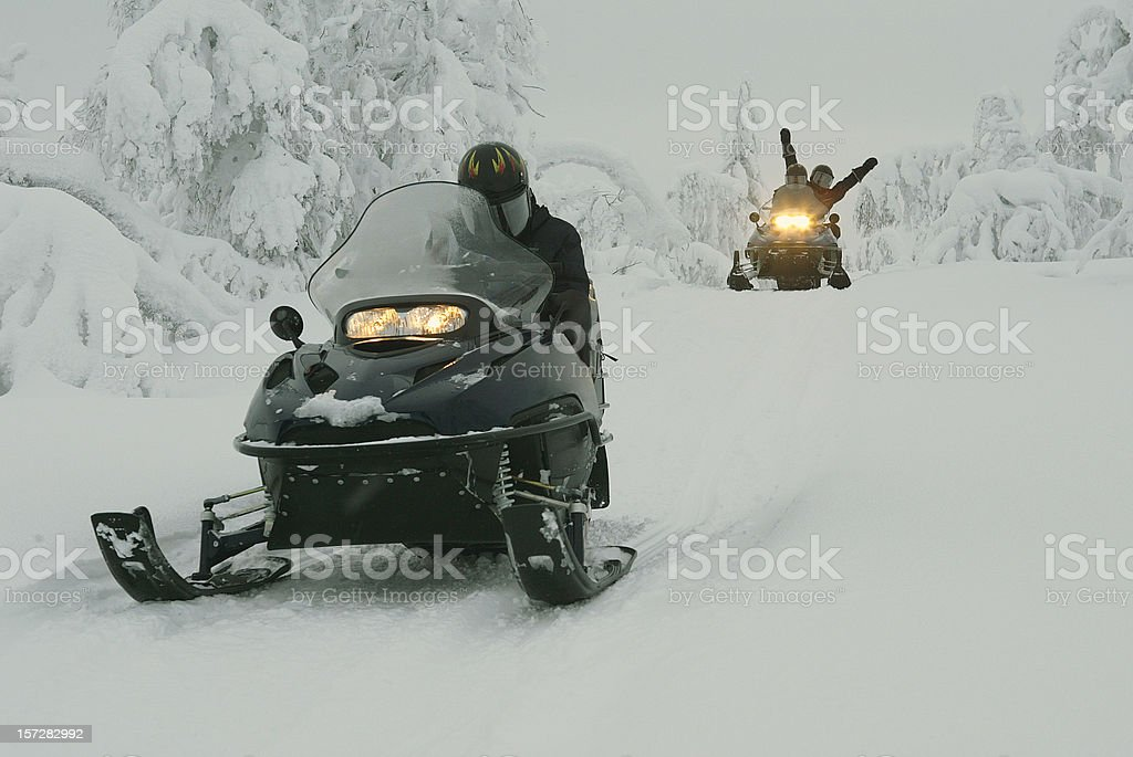 Snowmobile Expedition in Finland Lapland royalty-free stock photo