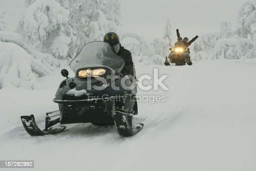 istock Snowmobile Expedition in Finland Lapland 157282992